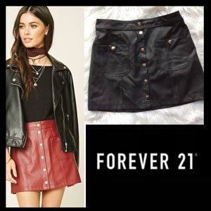 NWOT F21 Faux Leather A-Line Skirt